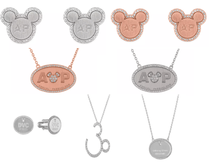 Annual Passholder mickey mouse shaped earrings in silver and copper colors with crystals surrounding them. AP necklaces that are oval with AP and a Mickey head in silver and copper, DVC cufflinks in silver, DVC 30th Anniversary necklace