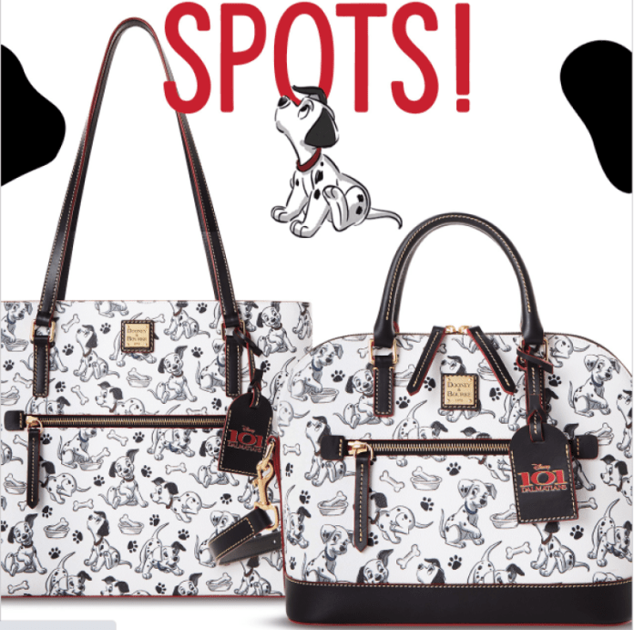 101 Dalmatians Print on white and black bags