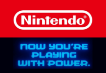 """Nintedo logo with slogan """"Now You're Playing With Power."""""""