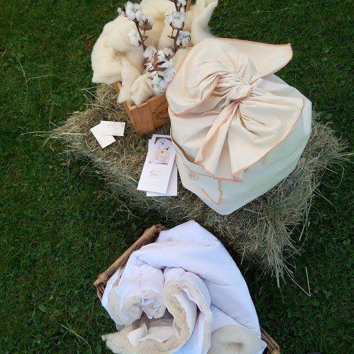 Lana de oveja y flor de algodon con muestras de lana alcolchada funda para el edredon de Pirilana
