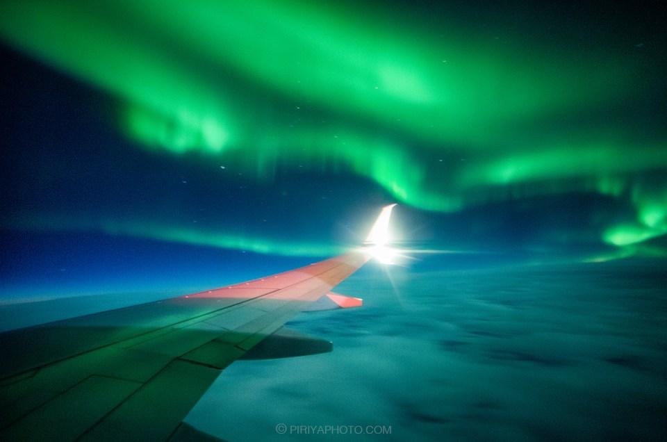 เตรียมตัวถ่ายแสงเหนือบนเครื่องบิน