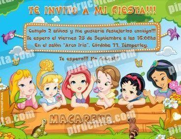 Invitación cumpleaños Princesas Disney Baby #05-0