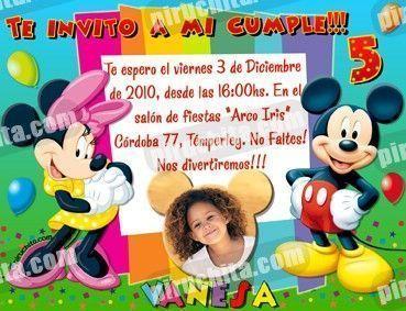 Invitación cumpleaños Mickey y sus amigos #01-0