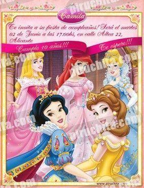 Invitación cumpleaños Princesas Disney #03-0