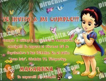 Invitación cumpleaños Blancanieves Baby-0