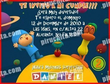 Invitación cumpleaños Pocoyo #08-0