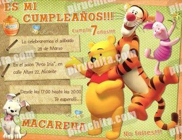Invitación cumpleaños Winnie Pooh #10-0
