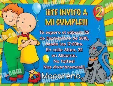 Invitación cumpleaños Caillou #12-0