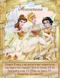 Invitación cumpleaños Princesas Disney Doradas #02-0