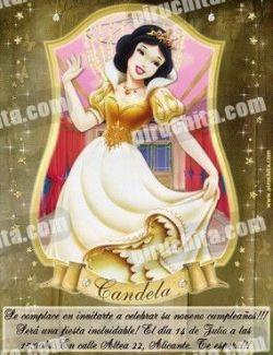 Invitación cumpleaños Princesas Disney Doradas #04-0