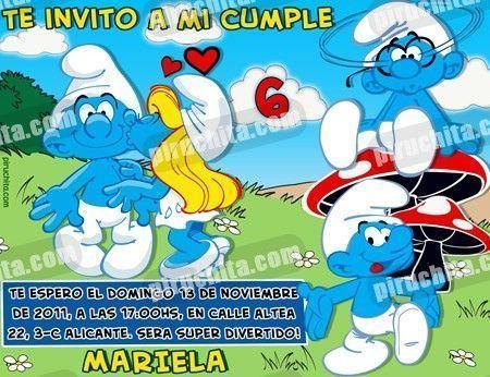 Invitación cumpleaños Los Pitufos #04-0