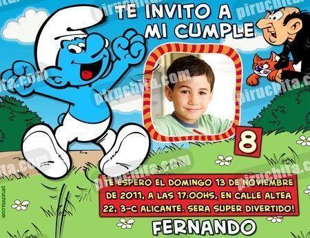 Invitación cumpleaños Los Pitufos #10-0