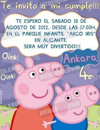 Invitacion Cumpleanos Peppa Pig 08 Digital Imprimible Piruchita