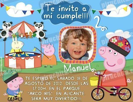 Invitación cumpleaños Peppa Pig #09-0