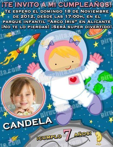 Invitación cumpleaños Espacio y astronautas #04-0