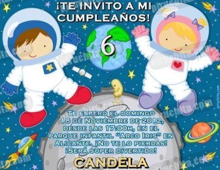 Invitación cumpleaños Espacio y astronautas #07-0