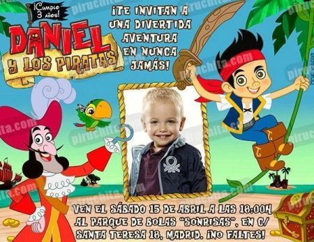 Invitación cumpleaños Jake y los piratas #07-0