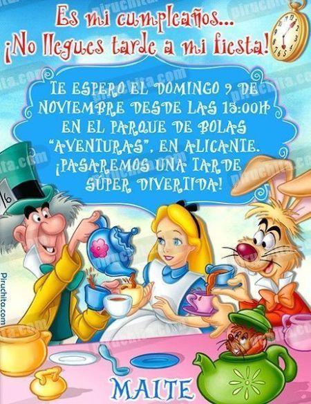 Invitación cumpleaños Alicia en el País de las Maravillas #01-0