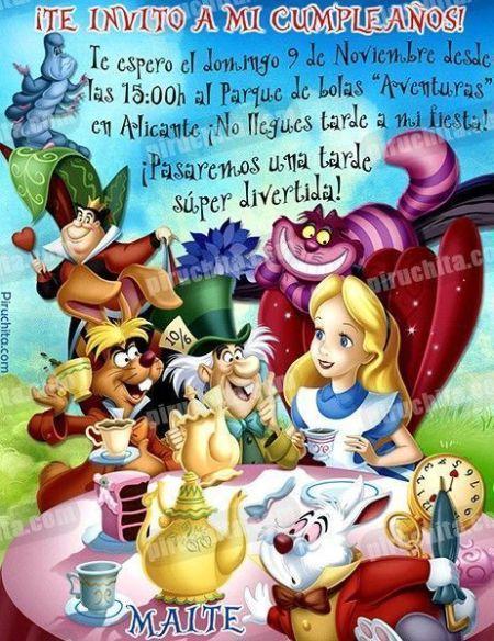 Invitación cumpleaños Alicia en el País de las Maravillas #08-0