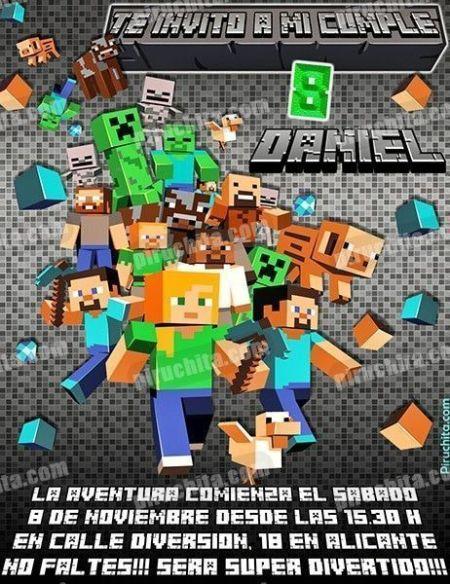 Invitación cumpleaños Minecraft #04-0