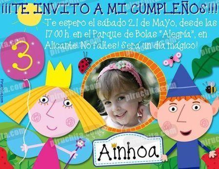 Invitación cumpleaños El pequeño reino de Ben y Holly #01-0
