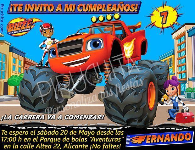 Invitación cumpleaños Blaze y los Monsters Machines #02   Digital Imprimible