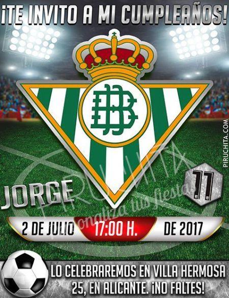 Invitación cumpleaños Fútbol - Betis   Digital Imprimible