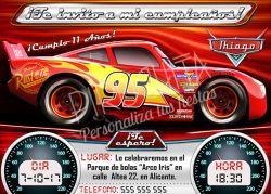 Invitación cumpleaños Cars-3 #01   Digital Imprimible