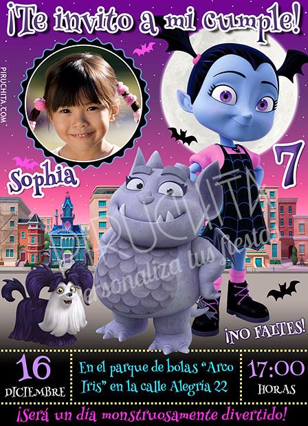 Invitación cumpleaños Vampirina #02 con Foto | Digital Imprimible