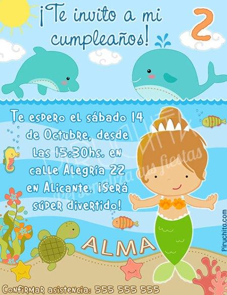 Invitación cumpleaños Sirenas #07 | Digital Imprimible