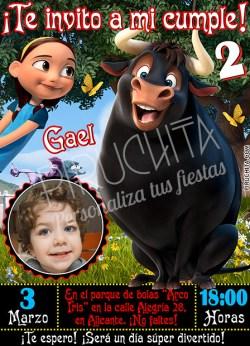Invitación cumpleaños Ferdinand #02 con foto   Digital Imprimible