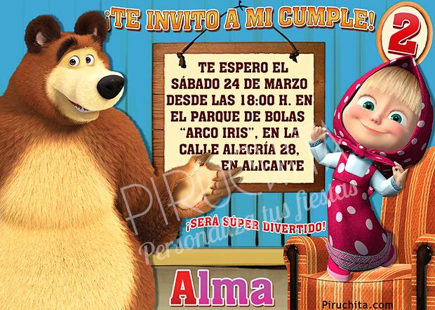 Invitación cumpleaños Masha y el Oso #04 | Digital Imprimible