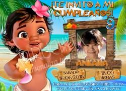 Invitación cumpleaños Vaiana (Moana) #07 con Foto  Digital Imprimible