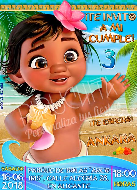 Invitación cumpleaños Vaiana (Moana) #08 | Digital Imprimible