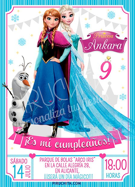 invitacin cumpleaos frozen 14 digital imprimible