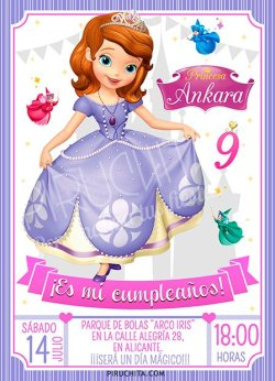 Invitación cumpleaños La Princesa Sofía #13   Digital Imprimible