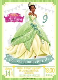 Invitación cumpleaños Tiana y el Sapo #01   Digital Imprimible
