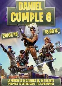Invitación cumpleaños Fortnite #02 | Digital Imprimible