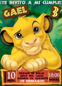 Invitación cumpleaños El Rey León #01 | Digital Imprimible