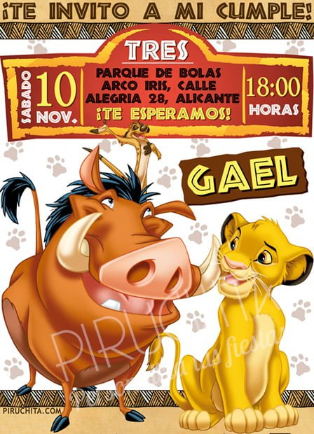 Invitación cumpleaños El Rey León #03 | Digital Imprimible