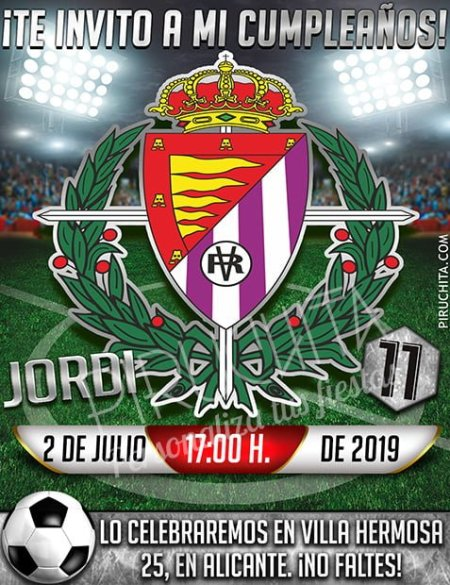 Invitación cumpleaños Fútbol - Real Valladolid | Digital Imprimible