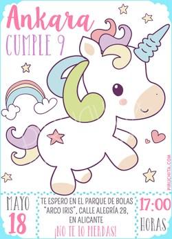 Invitación cumpleaños Unicornios #01   Digital Imprimible