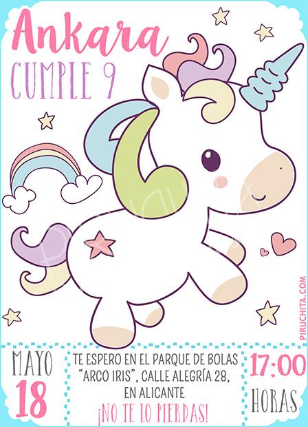 Invitación cumpleaños Unicornios #01 | Digital Imprimible