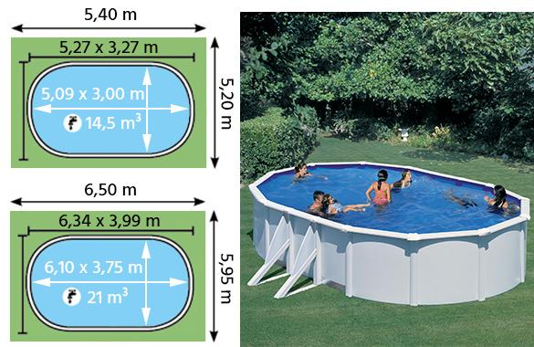 piscine acier blanc bora bora ovale gre bache hiver