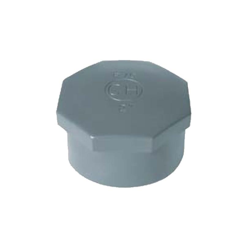 Tappo in PVC con attacco filettato per tubazioni di