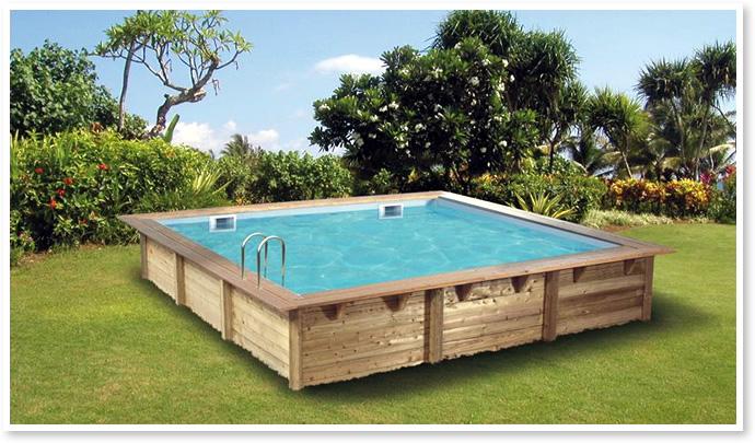 piscine en bois hors sol rectangulaire gloria 3x3