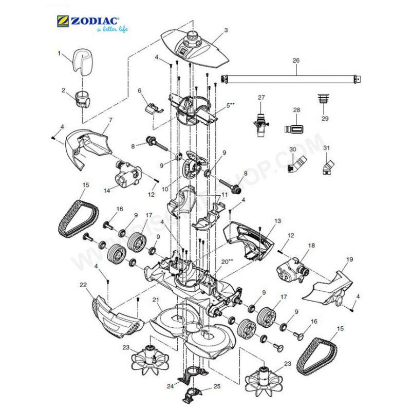 Logement central moteur robot Zodiac MX8  Piscine Shop