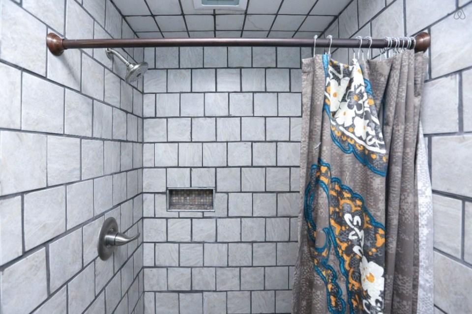 shower at the Pisgah Bike House