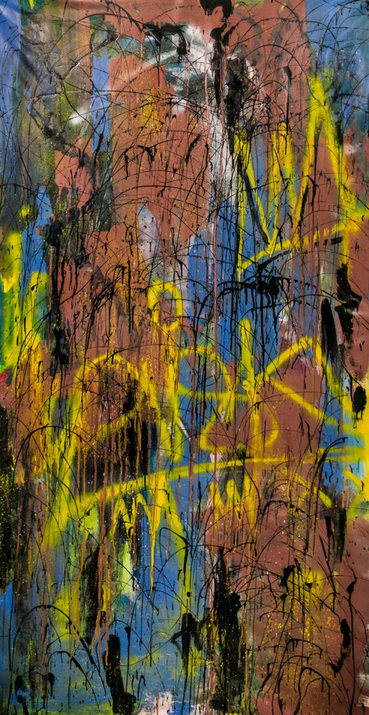 """Sinfonia Urbana"" by Piskv_Acrylic and Spray on Canvas_100x200cm_2020"