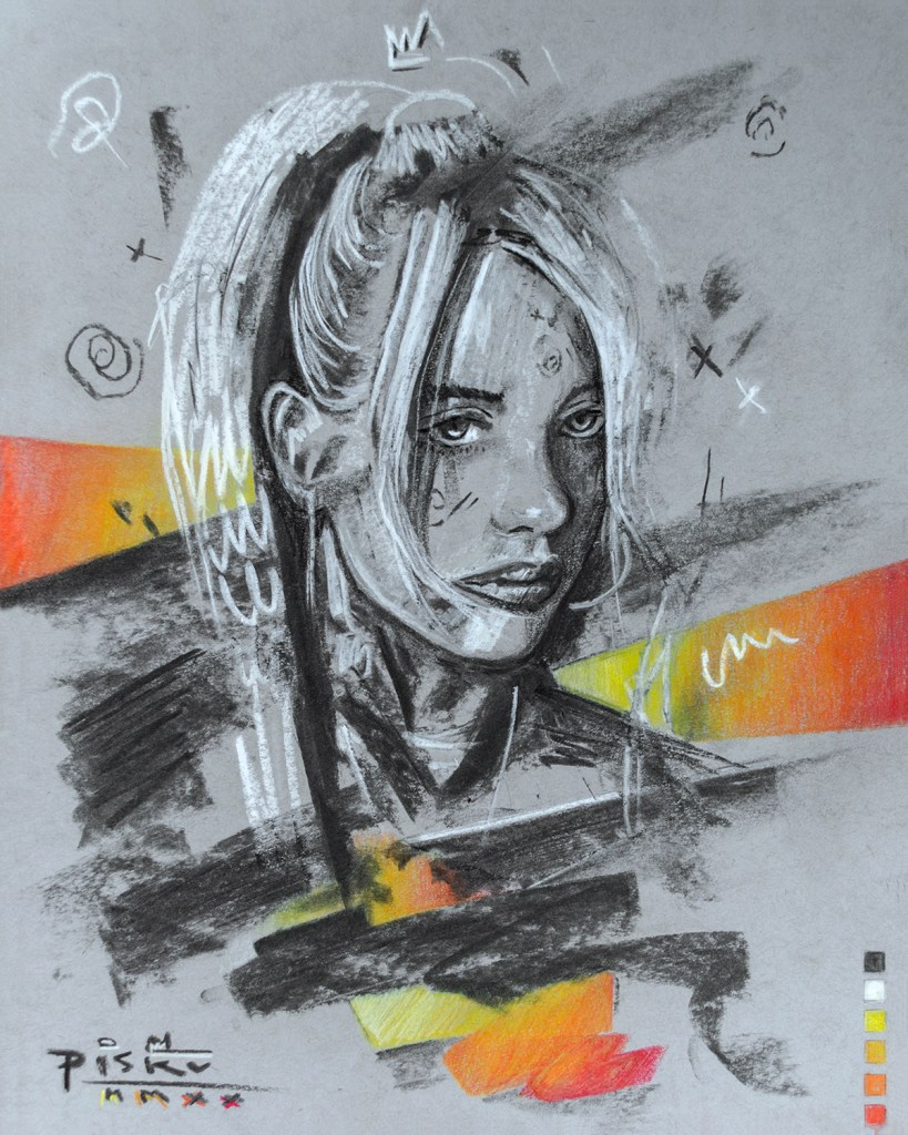 """Billie Eilish"" by Piskv_Charcoal and Pastels on Paper_28x35cm_2020"